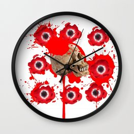 BLACK BLOODY RED EXPLODING BLOOD POPPIES SKULL ART Wall Clock