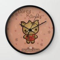 randy c Wall Clocks featuring Randy the Dirty Boar by Squid&Pig