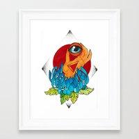 hamsa Framed Art Prints featuring Hamsa by missfortunetattoo