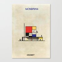 mondrian Canvas Prints featuring Mondrian by federico babina