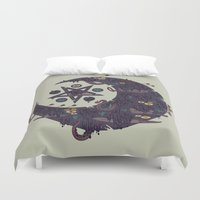 pentagram Duvet Covers featuring The Dark Moon Compels You to Fuck Shit Up by Hector Mansilla