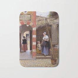 """Pieter de Hooch """"The Courtyard of a House in Delft"""" Bath Mat"""