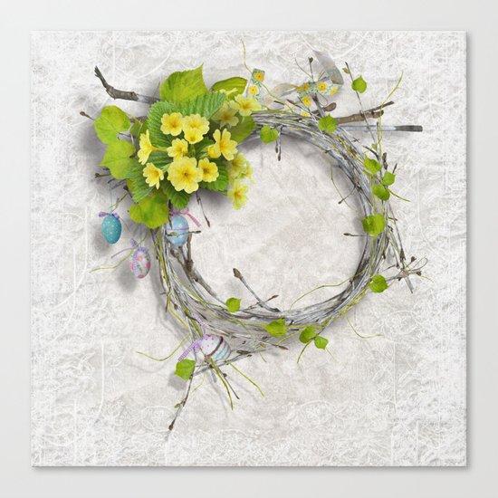 Yellow flowers wreath Canvas Print