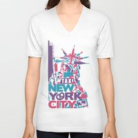 nyc V-neck T-shirts featuring NYC by ahutchabove