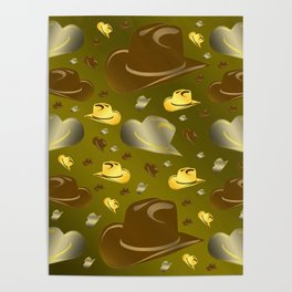 brown, golden pattern of little cowboy hats Poster