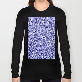 Tiny Spots - White and Dark Blue Long Sleeve T-shirt