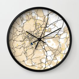 Clermont - Ferrand Yellow City Map Wall Clock