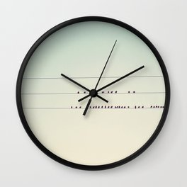 thirty-seven little birds sitting in a row ... Wall Clock