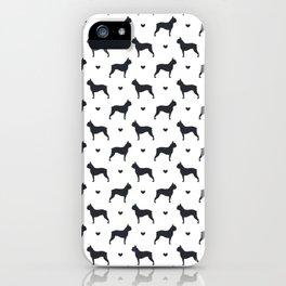boston terrier silhouette pattern iPhone Case