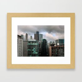 Chicago Skyline with John Hancock poking Through Framed Art Print