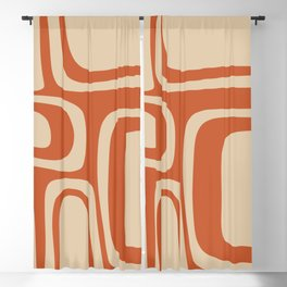 Palm Springs - Midcentury Modern Retro Pattern in Mid Mod Beige and Burnt Orange Blackout Curtain