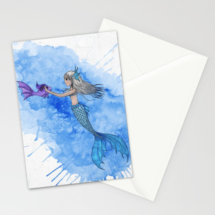 A mermaid and her friend Stationery Cards