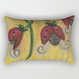 Ladybug Flowers Rectangular Pillow