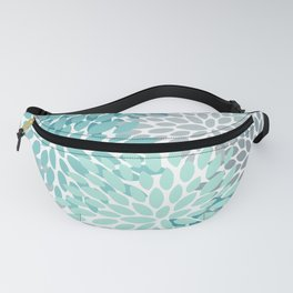 Floral Pattern, Aqua, Teal, Turquoise and Gray Fanny Pack