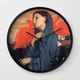 Young Woman With Ibis By Edgar Degas Wall Clock