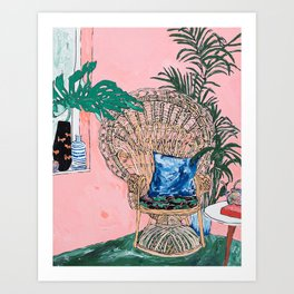 Peacock Chair in Pink Jungle Interior Art Print