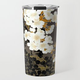 Japanese Sumi Black and White Cherry Blossom Travel Mug