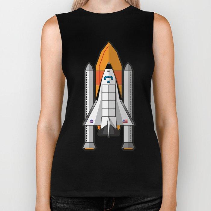 Space Shuttle night launch Biker Tank