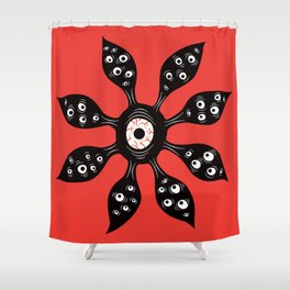 Creepy Witchy Evil Eye Monster On Red Shower Curtain