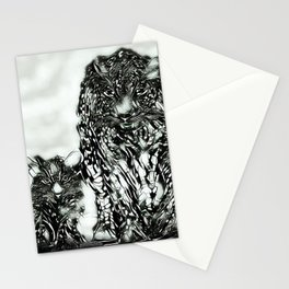Big Cat Models: Magnified Snow Leopard and Cub 01-04 Stationery Cards