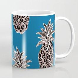 Gold Pineapples on teal Coffee Mug