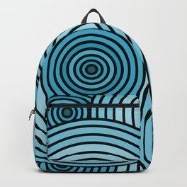 Sea-Blue Circle Pattern Backpack