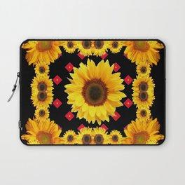 Black Western Blanket Style Sunflowers Laptop Sleeve