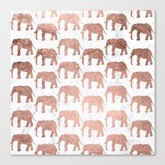Modern faux rose gold elephants white marble Canvas Print