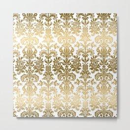 White & Gold Floral Damask Pattern Metal Print