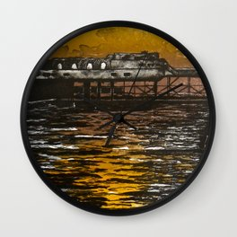 Aberystywth Pier at Dusk Wall Clock