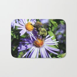 Pollen Dusted Bee on Asters Bath Mat
