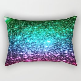 glitter Cool Tone Ombre (green blue purple pink) Rectangular Pillow