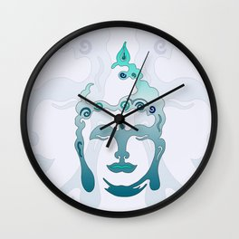 Buddha Head turquoise II Wall Clock