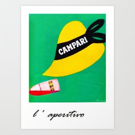 1940's Vintage Campari Aperitif Hat & Bullet Italian Advertisement Poster by Leonetto Cappiello Art Print