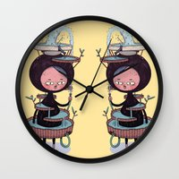 bath Wall Clocks featuring Bath Suit by Kensausage