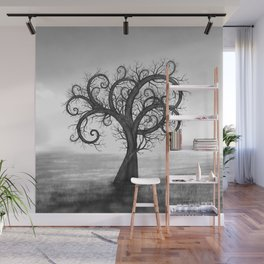 Golden Spiral Tree Black and White #2 Wall Mural