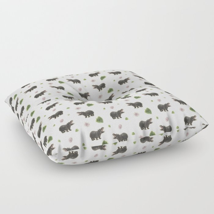 Hippos and Flowers Floor Pillow