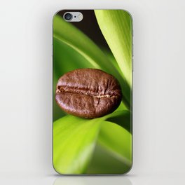 Coffee beans on bamboo iPhone Skin