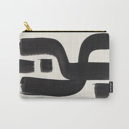 Mid Century Modern Minimalist Abstract Art Brush Strokes Black & White Ink Art Alien Symbol Pattern Carry-All Pouch