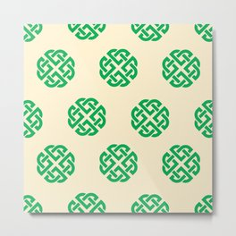 Celtic Endless Knot Symbol Green on Cream Background Metal Print