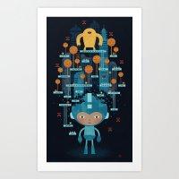 megaman Art Prints featuring MEGAMAN METTA by Jon Reinfurt