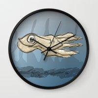 squid Wall Clocks featuring Squid by elledeegee