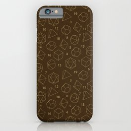 Outline of Dice in Gold + Brown iPhone Case