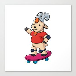 Goat With Skateboard. Canvas Print