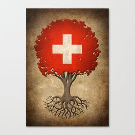 Vintage Tree of Life with Flag of Switzerland Canvas Print
