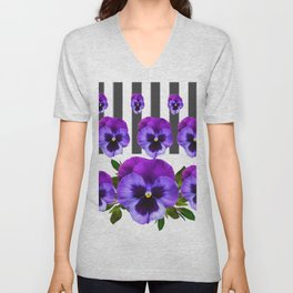 WHITE LILAC & PURPLE PANSY FLOWERS ART Unisex V-Neck