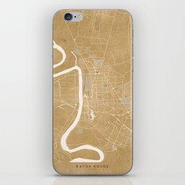Vintage map of Baton Rouge Louisiana in sepia iPhone Skin