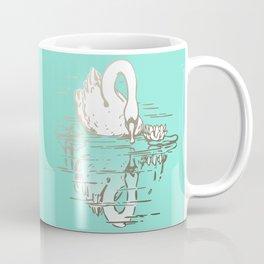 Beautiful Swan Reflection - Riptide Aqua Coffee Mug