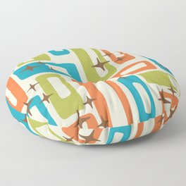 Retro Mid Century Modern Abstract Pattern 921 Orange Chartreuse Turquoise Floor Pillow