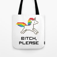 8 bit Tote Bags featuring 8-bit Unicorn by Molly Quist